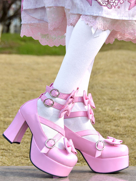 Milanoo Sweet Lolita Pumps Pink Bows High Heel Platform PU Leather Lolita Shoes