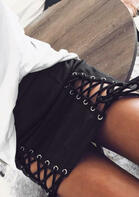 High Waist Lace Up Tie Skirt - Black