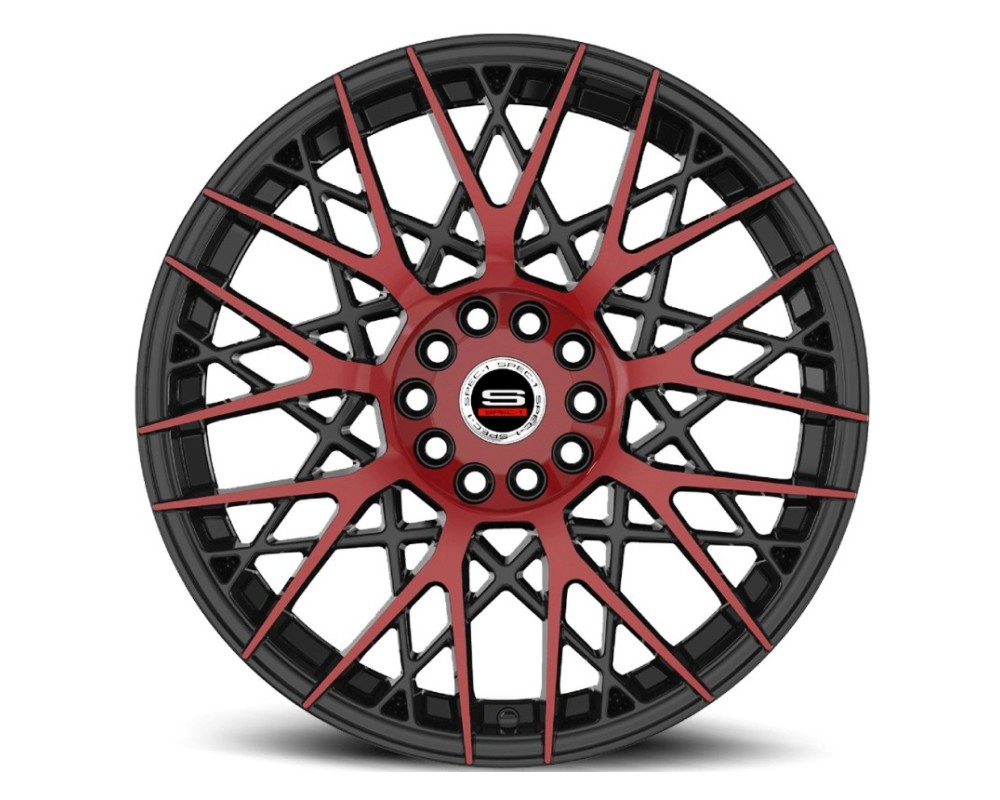 Spec-1 SP-53 Wheel Racing Series 18x8 4x100|4x114.3 38mm Gloss Black Milled Red Face
