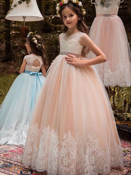 Milanoo Flower Girl Dresses Jewel Neck Sleeveless Sash Formal Kids Pageant Dresses