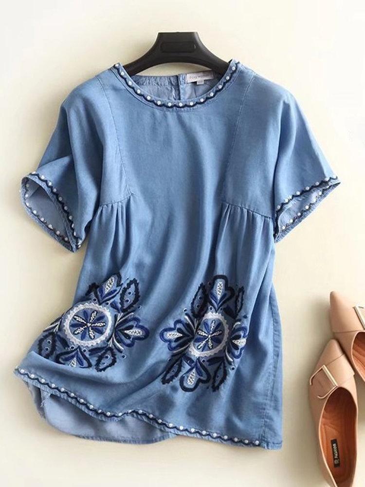 Denim Embroidery Short Sleeve O-neck Blouses