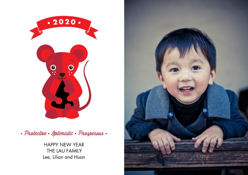 Chinese New Year Set of 20, Premium 5x7 Foil Card, Card & Stationery -Year Of The Rat