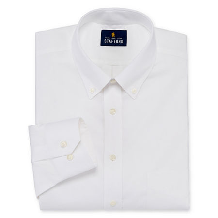 Stafford Mens Non-Iron Cotton Pinpoint Oxford Button Down Collar Stretch Big and Tall Dress Shirt, 22 38-39, White