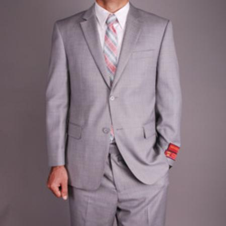 Mens Light Grey Wool 2button Suit165