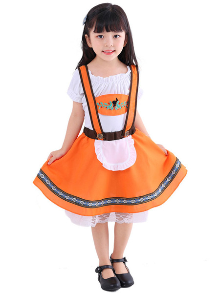Milanoo Kids Halloween Cosplay Costumes Orange Beer Maid Girls Polyester Top Dress Holiday Wears