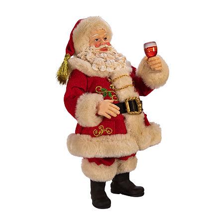 Kurt Adler 10.5-Inch Fabriché Wine Tasting Santa Figurine, One Size , Multiple Colors