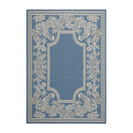 Safavieh Courtyard Collection Kestrel Oriental Indoor/Outdoor Area Rug, One Size , Blue