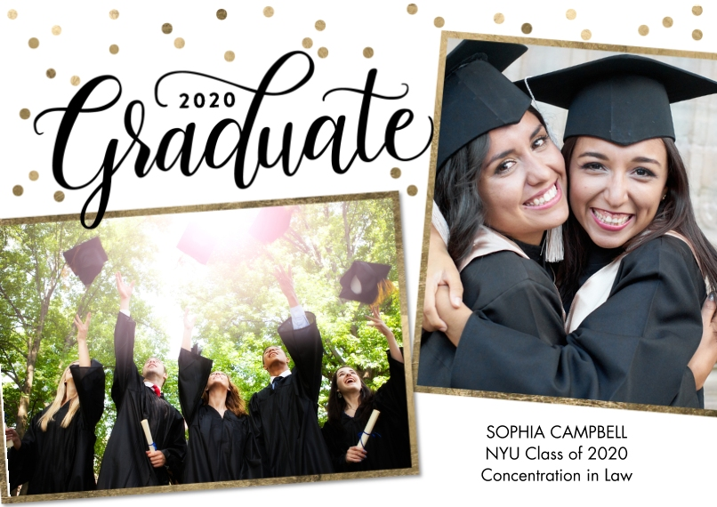 2020 Graduation Announcements Flat Glossy Photo Paper Cards with Envelopes, 5x7, Card & Stationery -2020 Graduate Gold Dots by Tumbalina