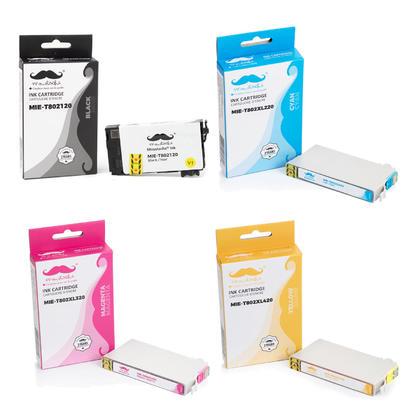 Epson 802 T802120 Black and T802XL Color Remanufactured Ink Cartridge Combo BK/C/M/Y - Moustache®