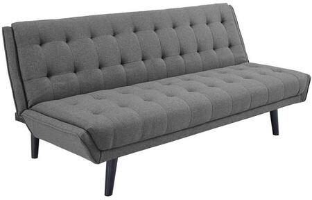 Glance Collection EEI-3093-GRY Convertible Sofa Bed with Black Rubberwood Tapered Legs  Mid-Century Modern Style  Dense Foam Padding and Tufted
