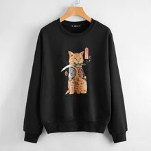 Japanese Letter & Cat Graphic Drop Shoulder Pullover