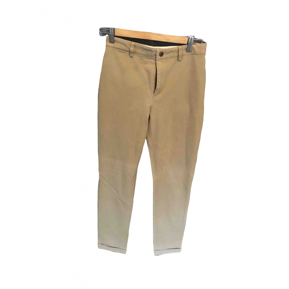 Non Signé / Unsigned \N Beige Cotton Trousers for Women 36 FR