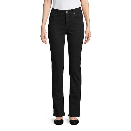 St. John's Bay Womens Mid Rise Straight Leg Jean, 16 Short , Black