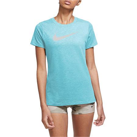 Nike Womens Crew Neck Short Sleeve Graphic T-Shirt, Medium , Blue
