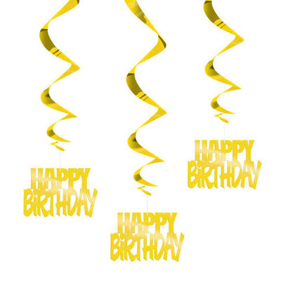 Happy Birthday Foil Hanging Swirl Party Decorations 32