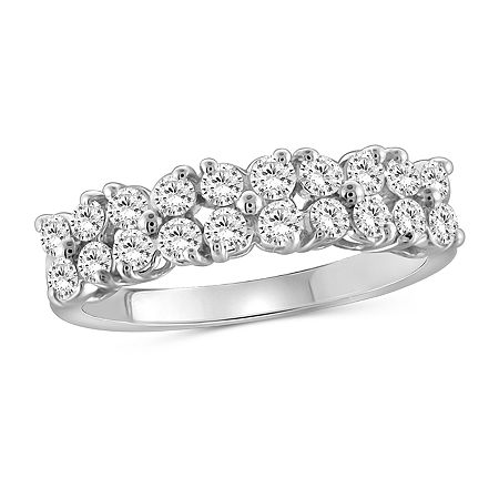 Womens 2 1/2 CT. T.W. White Cubic Zirconia Sterling Silver Cocktail Ring, 7 , No Color Family