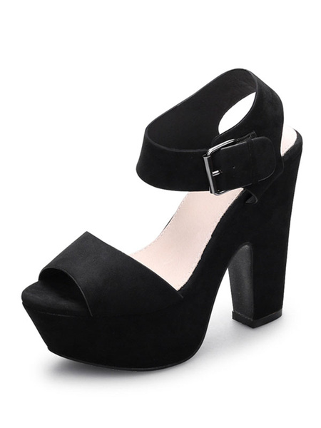 Milanoo Platform High Heel Sandals Womens Peep Toe Slingback Chunky Heel Sandals