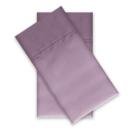 Home Expressions Easy Care Percale Solid and Print Wrinkle Resistant 2-Pack Pillowcases, One Size , Purple