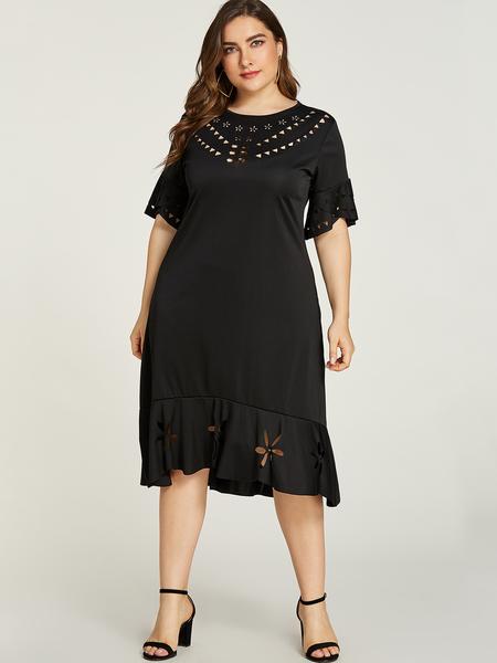 Yoins Plus Size Black Hollow Design Half Sleeves Dress