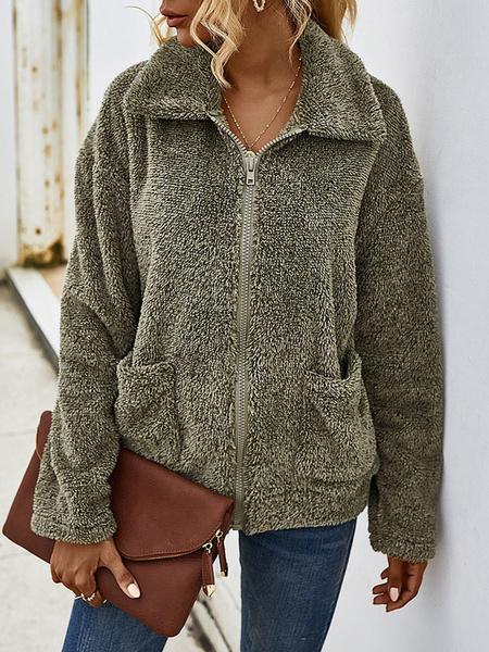 Milanoo Women Faux Fur Coats Deep Gray Long Sleeves Zipper Winter Coat With Pockets