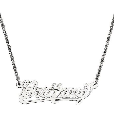 Personalized 15x45mm Diamond-Cut Scroll Name Necklace, One Size , White