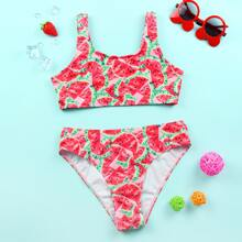 Girls Watermelon Print Bikini Swimsuit
