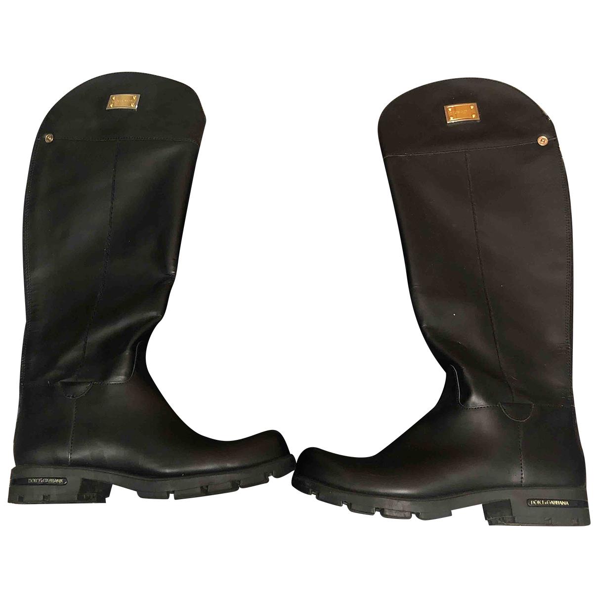 Dolce & Gabbana \N Black Leather Boots for Women 39 EU