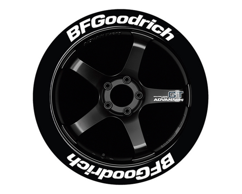 Tire Stickers BFG-1921-1-8-Y Permanent Raised Rubber Lettering 'Bf Goodrich' - 8 Of Each - 19