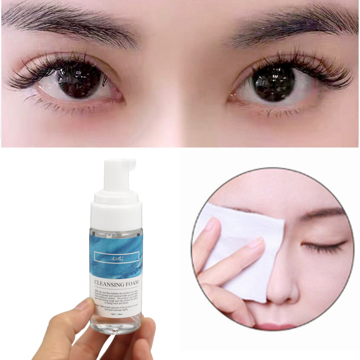 60ML Eyelash Cleanser Foam Quickly Clean Eyelash Makeup Pro Eyelash Cleaning Tool