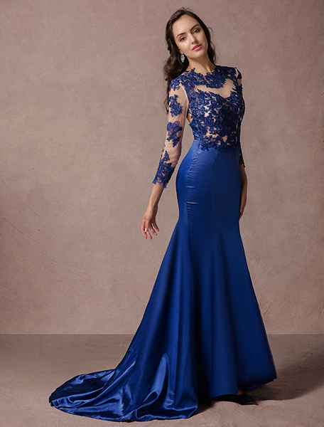Milanoo Lace Evening Dress Long Sleeves Blue Satin Backless Mermaid Party Dress With Court Train