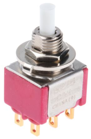 C & K Double Pole Double Throw (DPDT) Momentary Push Button Switch, 15.24 x 12.70mm, Panel Mount