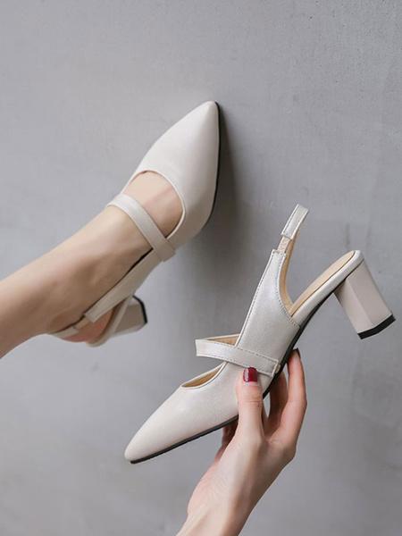 Milanoo Mid-Low Heels For Woman Elegant Pointed Toe Chunky Heel Slip-On Elegant Ecru White Pumps