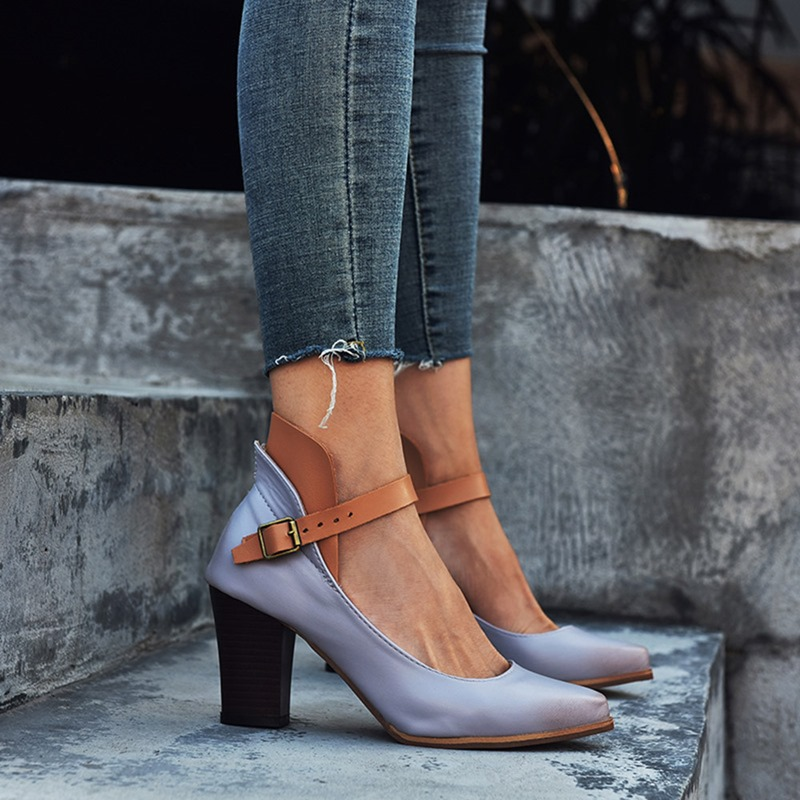 Ericdress Pointed Toe Chunky Heel Buckle Low-Cut Upper Thin Shoes