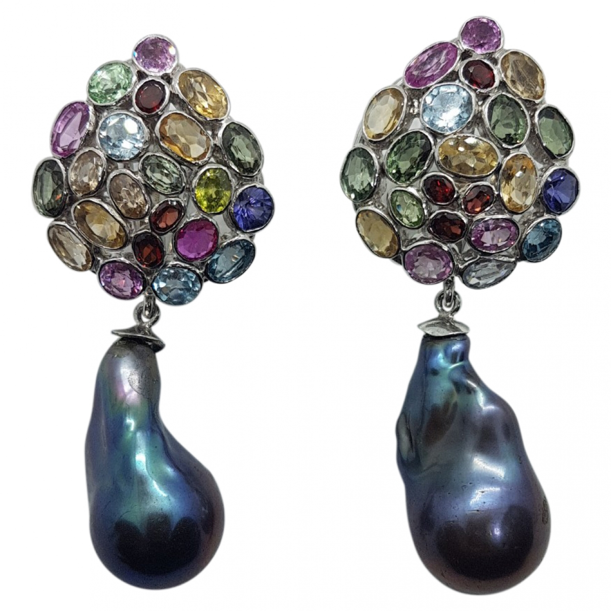 Non Sign?? / Unsigned Dormeuses Multicolour Silver Earrings for Women \N