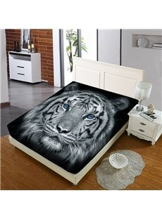 A Tiger With Blue Pupils Reactive Printing 1-Piece Polyester Bed Cover / Mattress Cover