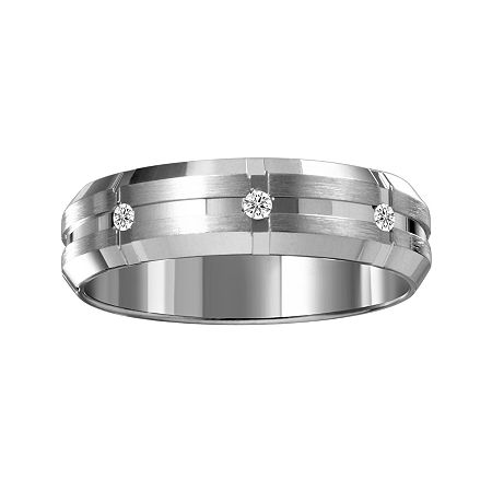 Mens 6mm Diamond-Accent 10K White Gold Wedding Band, 10 , No Color Family