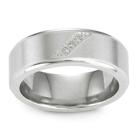 Diamond-Accent Stainless Steel Wedding Band, 9 1/2 , No Color Family
