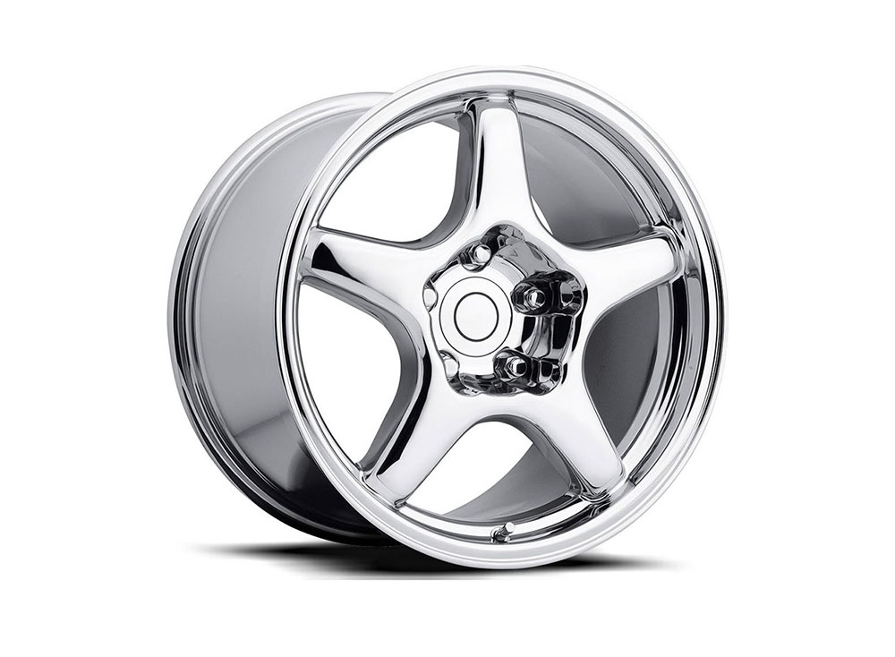 Factory Reproduction Series 21 Wheels 17x9.5 5x4.75 +54 HB 70.3 1984-1996 C4 ZR1 Corvette Chrome w/Cap