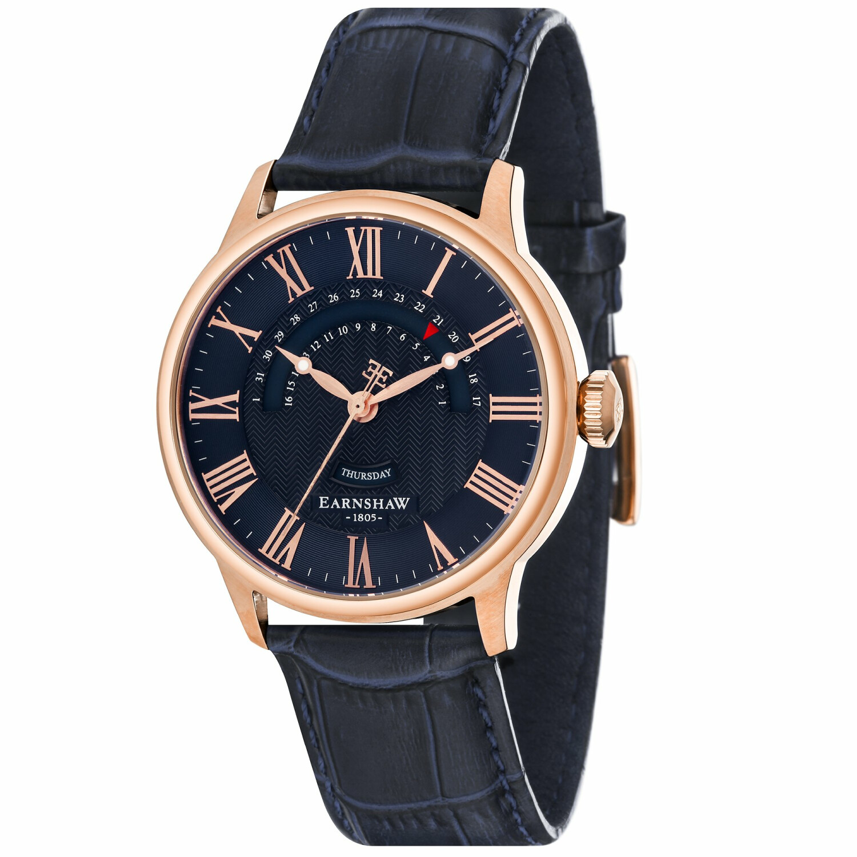 Thomas Earnshaw Men's Cornwall Retrograde Register Day Date ES-8077-SETA-03 Blue Leather Japanese Quartz Fashion Watch