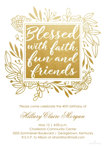 Birthday Party Invites Flat Matte Photo Paper Cards with Envelopes, 5x7, Card & Stationery -Blessed With Faith, Fun & Friends