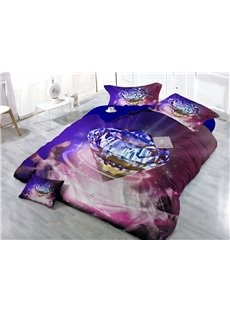 Diamond with Music Wear-resistant Breathable High Quality 60s Cotton 4-Piece 3D Bedding Sets