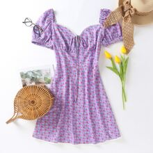 Sweetheart Neck Tie Front Ditsy Floral Dress