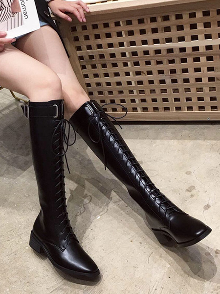 Milanoo Knee High Boots Womens PU Lace Up Square Toe Puppy Heel Martin Boots