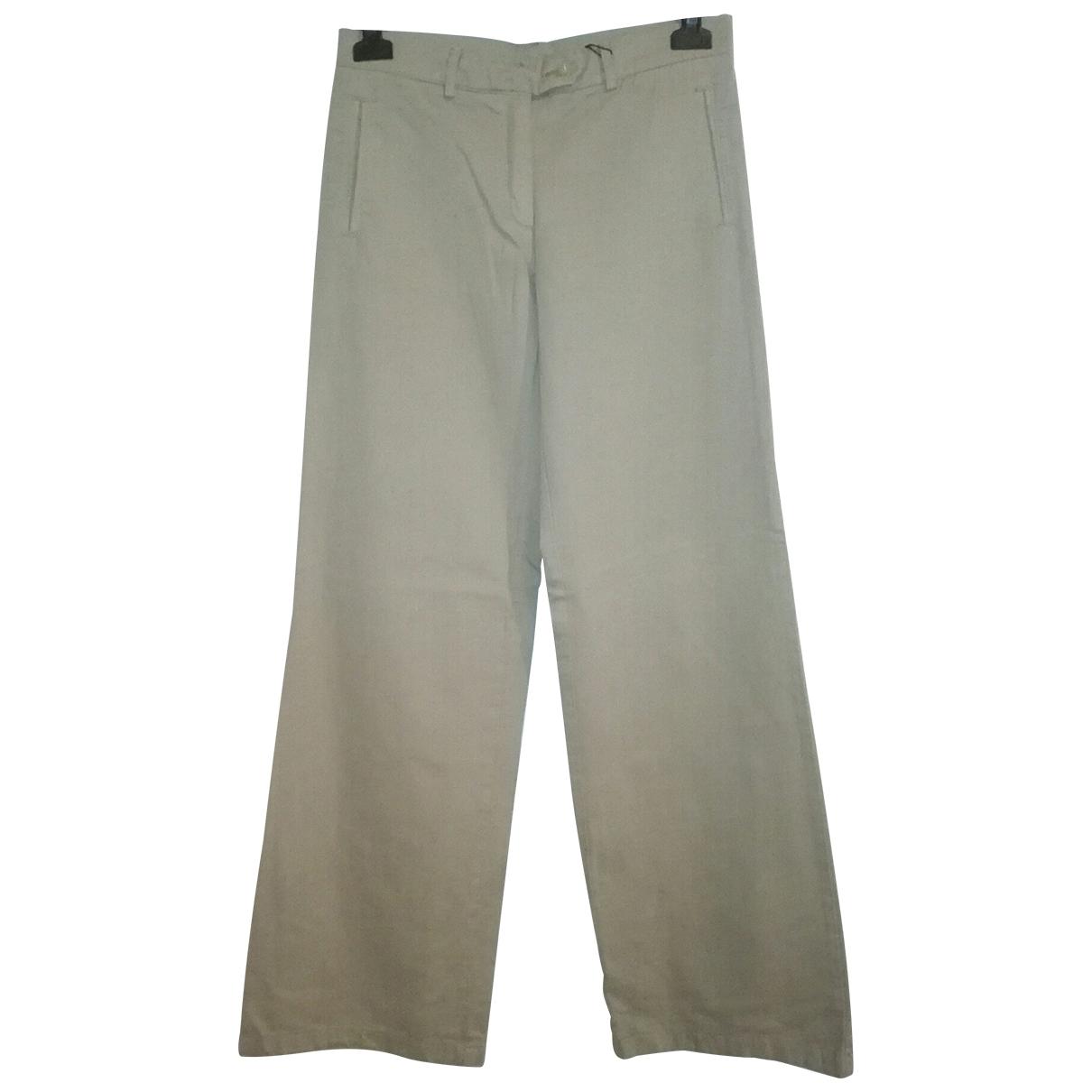 Gianfranco Ferré \N Beige Cotton Trousers for Women 40 IT