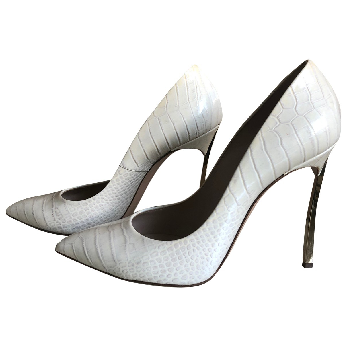 Casadei \N Ecru Leather Heels for Women 40 IT