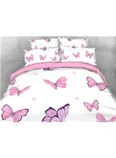 3D Pink Butterflies Soft Comfortable Duvet Cover Set 4-Piece Animal Bedding Set
