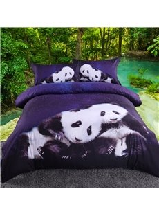 Vivilinen 3D Panda and Blue Galaxy Printed 5-Piece Comforter Sets