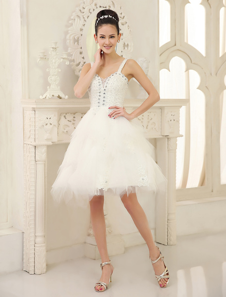 Milanoo Ivory A-line Sweetheart Neck Straps Lace Tulle Wedding Dress For Bride