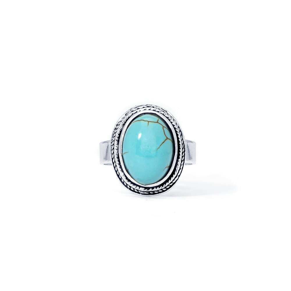 Silver Plated Simulated Turquoise Oval Ring (Blue - Adjustable - Turquoise - White)