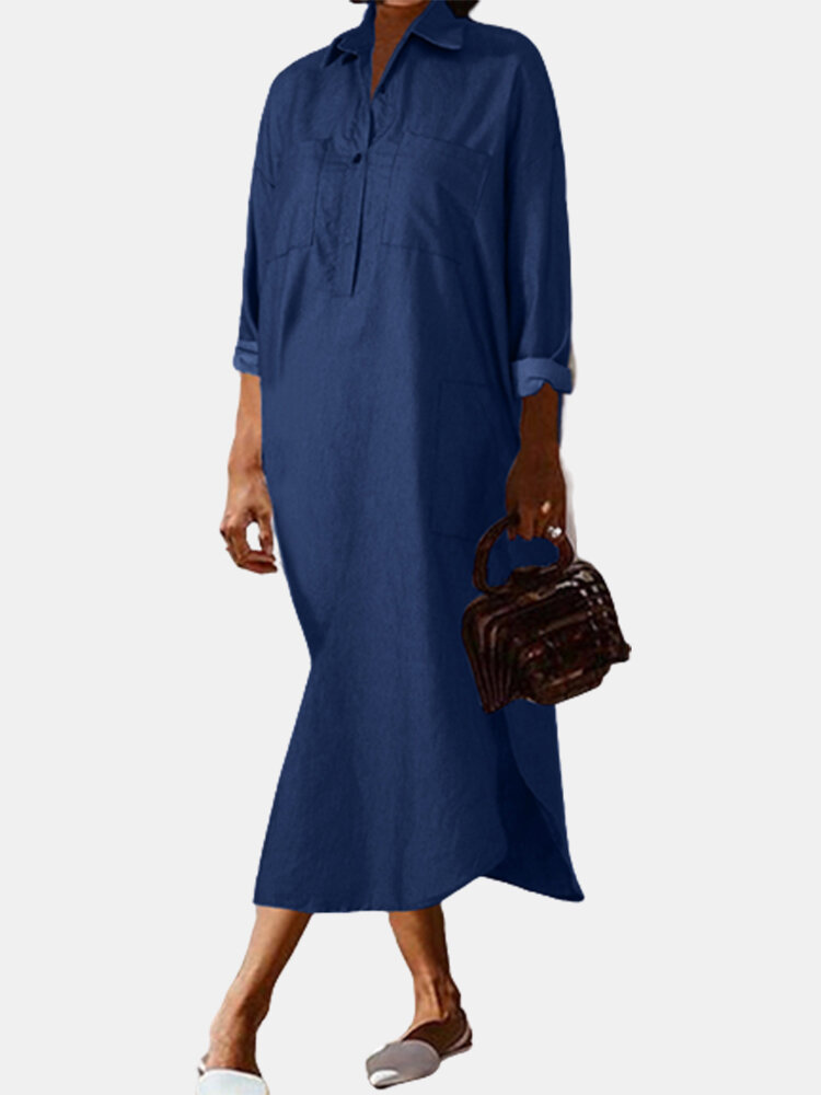 Solid Color Long Sleeves Turn-Down-Collar Casual Denim Dress